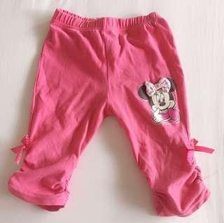 迪士尼Disney女童休閒五分褲 粉紅色蝴蝶結米妮造型二手