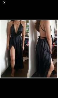 FOR RENT: BLACK SILK GOWN LONG DRESS