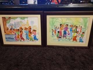 Water color kampung village scene painting art artist signed