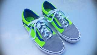 Vans Size 7US Grey & Fluro Green Sneakers