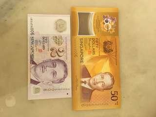 🚚 S'pore CIA $50 and Polymer $2 identical no: 054006 (UNC/XF)