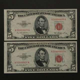 [全新紅印] 1953年 $5美金連號紙幣兩張 (A50999899-00)