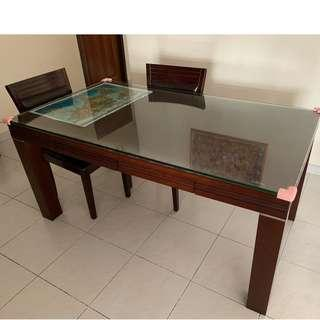 Dining Table & Chairs (Solid Wood)