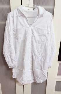 全新白長襬襯衫