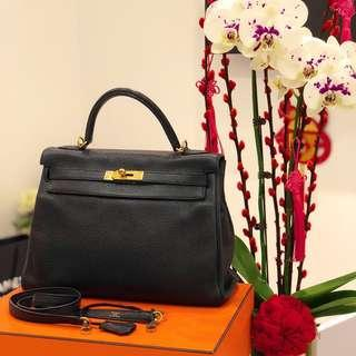 61e269a73f7 Hermes Kelly 32 in Black Clemence GHW