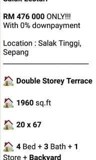 Rumah double story utk dijual