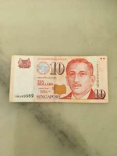 🚚 S'pore Paper $10 1BK-989989 ( Nice )
