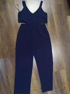 Navy blue jumpsuit with cut out sides