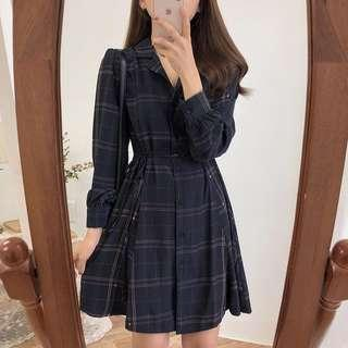 [BRAND NEW] Korean style black checkers long sleeve knee length dress