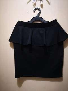 Peplum Black Pencil Skirt