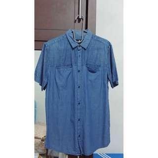 Kemeja Cowo / Pria Cotton On ORI Biru Jeans Lengan Pendek