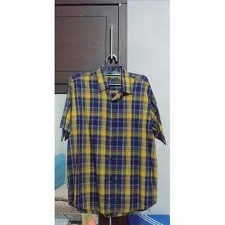 Kemeja Cowo / Pria Versace ORI Kuning Biru Lengan Pendek