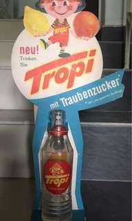 Vintage 1960s Tropi Cardboard Sign & Bottle