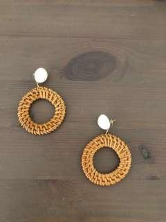 Circular Studded Woven Earrings