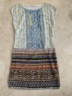 Mix pattern chic dress