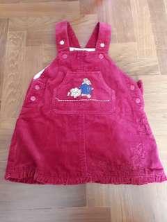 Sweet Paddington bear denim skirt overalls for 2 to 4 months
