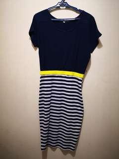 Weekender Pencil Cut Dress Blue Stripes