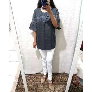Darkgrey puff blouse brukat