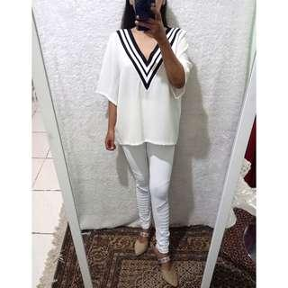 V white blouse