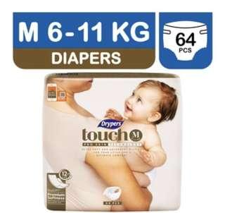 🚚 Deliver 4 @ $57 Drypers Touch M