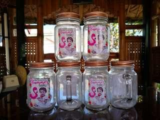 Mason Jar Clear with Handle and Metal Cap
