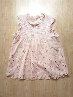 Pink blouse u can see through sleeveless