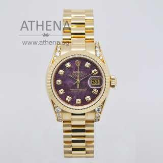 """ROLEX 18K YELLOW GOLD ROLEX LADIES DATEJUST """"Z"""" SERIES """"MAROON SOLIDATE DIAMOND DIAL"""" WITH ORINGIAL ROLEX DIAMOND SETTING ON THE LUGS, CHAPTER RING & CERT 179238 (LOCAL AD)  *JWWRL_1239*"""