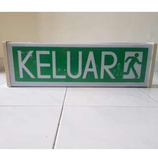Lighted Keluar Signage Exit Sign Bomba