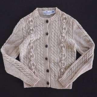 🚚 🌴90s愛爾蘭手織漁夫毛衣 藕色 麻花針織衫 開襟外套 男女皆可Vintage 歐美古著