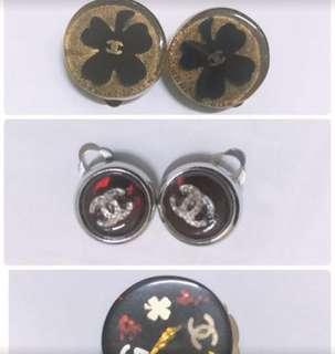 Chanel 夾式耳環Chanel Vintage,三款,幸運草、酒紅晶透、單顆多元素