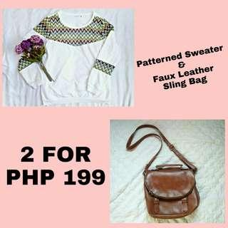 SALE! Patterned Sweater and Sling Bag