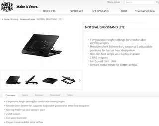 Cooler Master ErgoStand Lite Adjustable Height Notebook Cooler