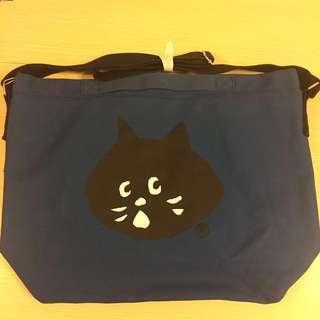 購自日本Ne-net全新深藍色斜咩/手抽大布袋