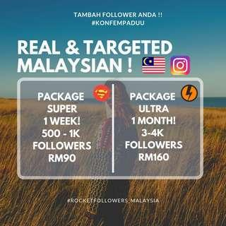 Real & targeted followers 100% malaysian