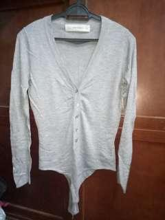 (Preloved) Zara Knit Bodysuit Cardigan