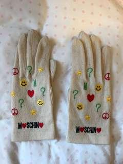 Moschino White Mittens with embroidery