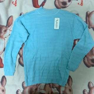 🚚 湖水藍色針織長袖上衣