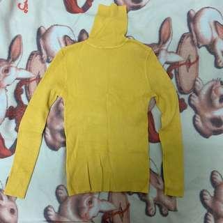 🚚 黃色高領針織打底衣