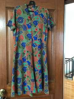 🚚 Vintage-style Brown n Green Aztec Print Below-knee A-Leone Dress w Shoulderpads