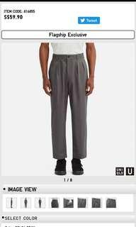 MEN Uniqlo U Wide Fit Pleated Tapered Chino Pants