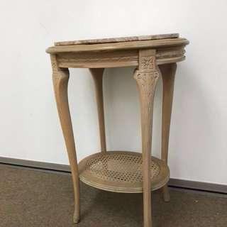 Solid wood + marble top side table