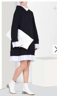MM6 SWEATSHIRT DRESS WITH PLEATED DETAILS