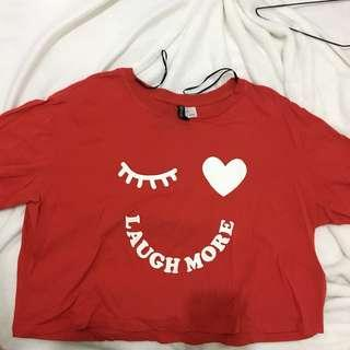 """H&M """"laugh more"""" red cropped top"""