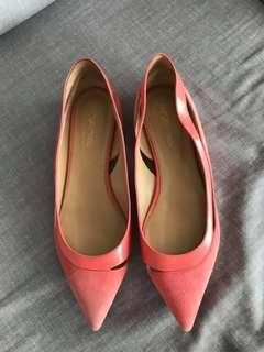 Firm on price.  Very good condition Authentic Sergio Rossi cutout suede and patent flats - 37.5- fits 7.5