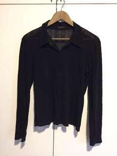Sexy Sheer Long-Sleeved Top in Black