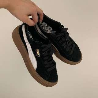 Puma Platform Black Suede with Gum Sole