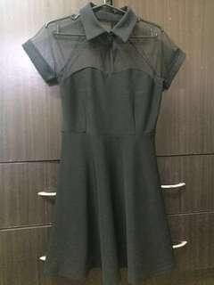 Black dress with collar and mesh details