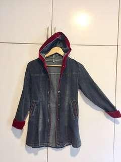 Denim semi trench coat hoodie jacket