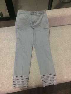 Zara light blue sheen pants with crotchet hem