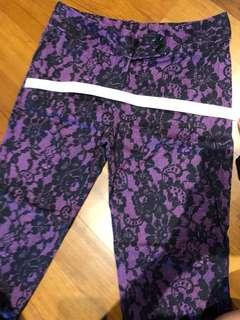 Jaspal three quarters pants (purple with black lace print) #mfeb20